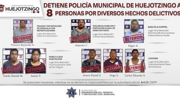 En distintas acciones, detienen a 8 probables delincuentes en Huejotzingo