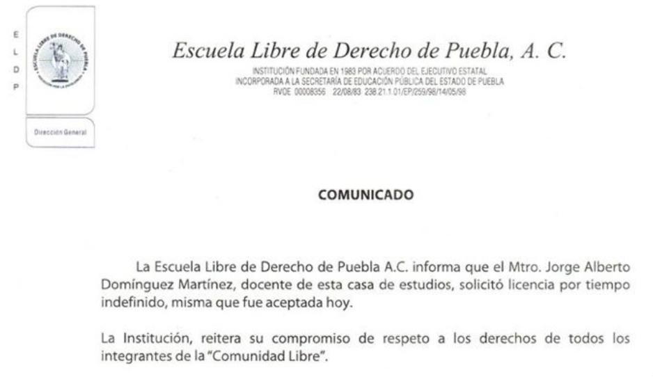 Foto: Escuela Libre de Derecho Puebla / (Twitter)