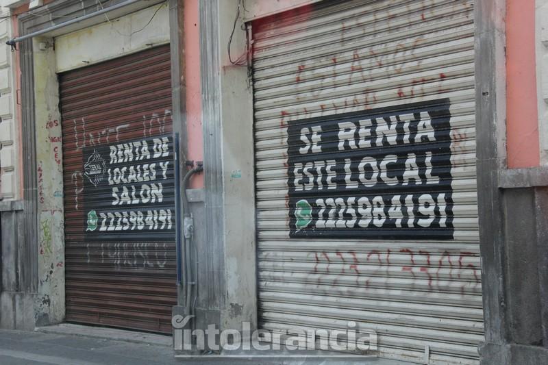 Negocios del Centro Histórico de Puebla, víctimas de la pandemia