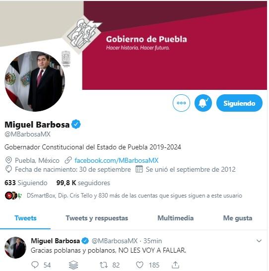 Captura del Twitter @MBarbosaMX